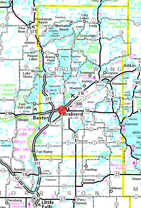 Minnesota State Highway Map of the Brainerd Minnesota area