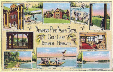 Pine Beach Hotel on Gull Lake, Brainerd Minnesota, 1930's