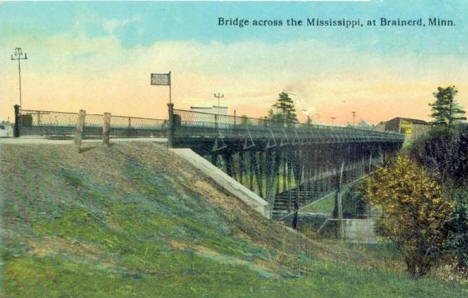 Bridge across the Mississippi, Brainerd Minnesota, 1910's