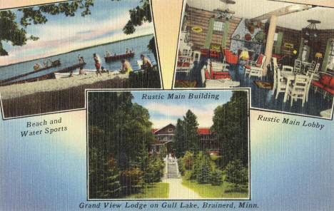 Grand View Lodge on Gull Lake, Brainerd Minnesota, 1950's