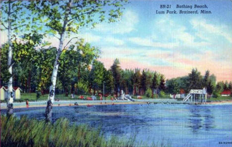 Bathing Beach at Lum Park, Brainerd Minnesota, 1935