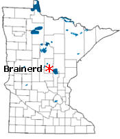 Location of Brainerd Minnesota