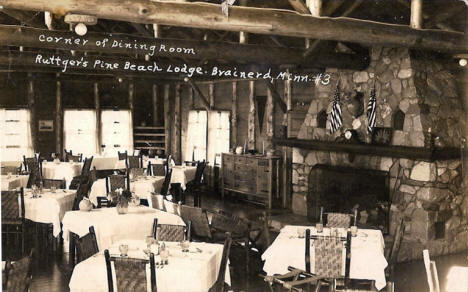 Dining Room, Ruttger's Pine Beach Lodge, Brainerd Minnesota, 1939