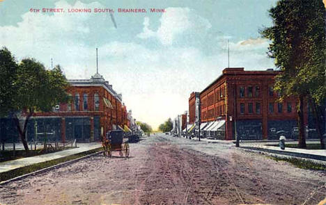 Sixth Street looking south, Brainerd Minnesota, 1910