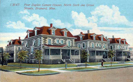 Four duplex cement houses, North Sixth and Grove Streets, Brainerd, 1916