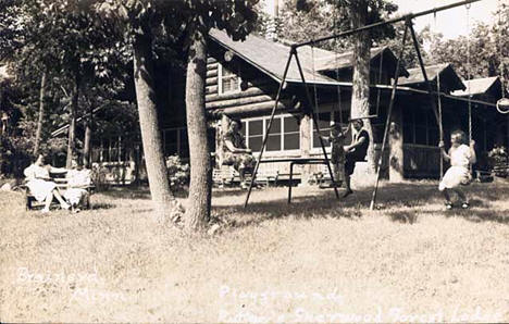 Playground and main lodge, Ruttger's Sherwood Forest Lodge on Gull Lake 1937