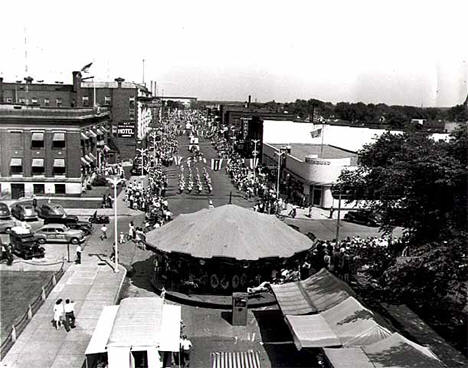 View of downtown Brainerd during its Diamond Jubilee Celebration, 1946