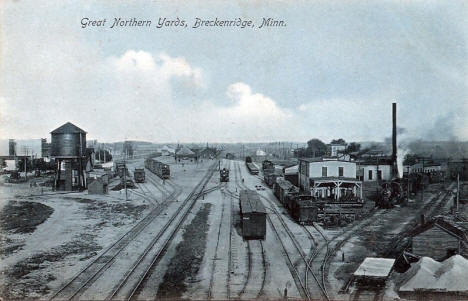 Great Northern Railroad Yards, Breckenridge Minnesota, 1908