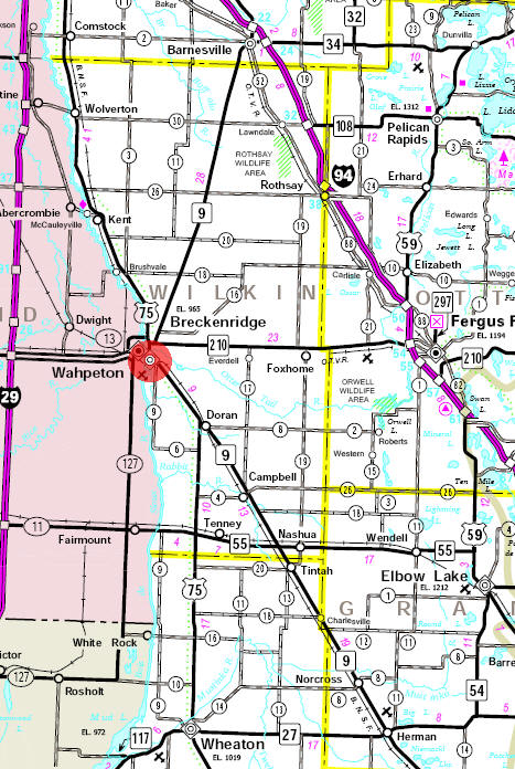 Minnesota State Highway Map of the Breckenridge Minnesota area