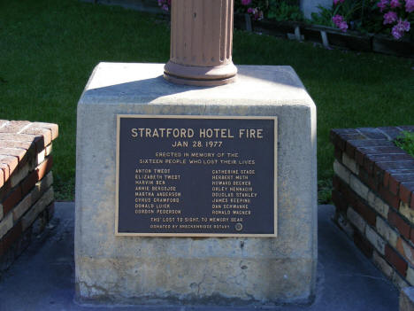 Close-up of Stratford Hotel Fire Memorial Plaque, Breckenridge Minnesota, 2008