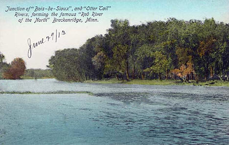 "Junction of the ""Bois de Sioux"" and the ""Ottertail"" to form the Red River, Breckenridge Minnesota, 1913"