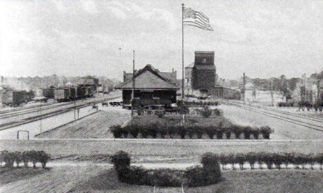 Great Northern Yards and Depot, Breckenridge Minnesota, 1920's?