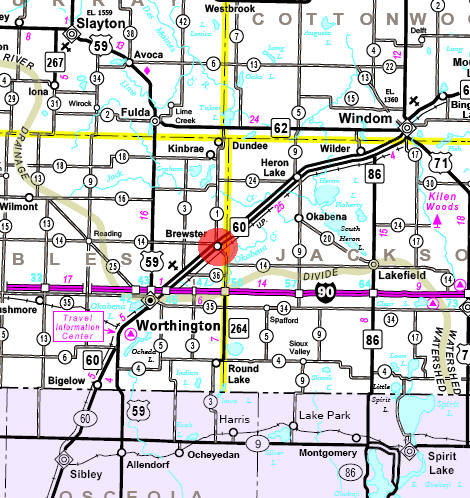 Minnesota State Highway Map of the Brewster Minnesota area