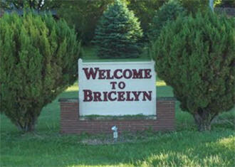 Bricelyn Minnesota welcome sign