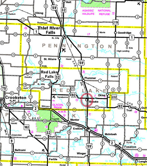 Highway Map of the Brooks MN area