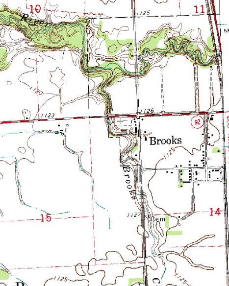 Topographic Map of the Brooks Minnesota area