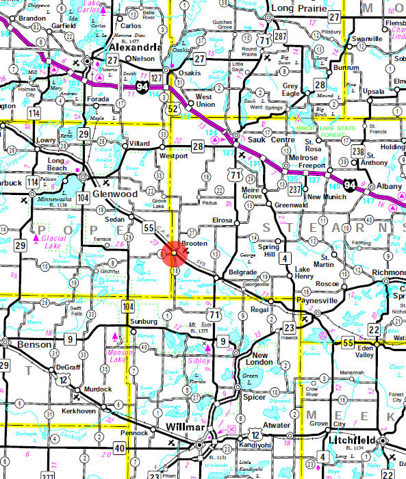 Minnesota State Highway Map of the Brooten Minnesota area