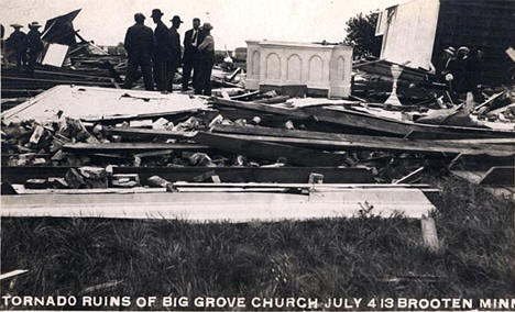 Ruins of Big Grove Church after tornado, Brooten Minnesota, 1913