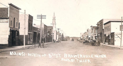 Main Street north of 5th Street, Browerville Minnesota, 1910's