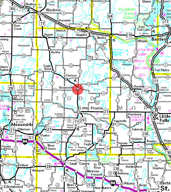 Minnesota State Highway Map of the Browerville Minnesota area