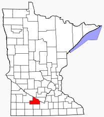 Location of Brown County Minnesota