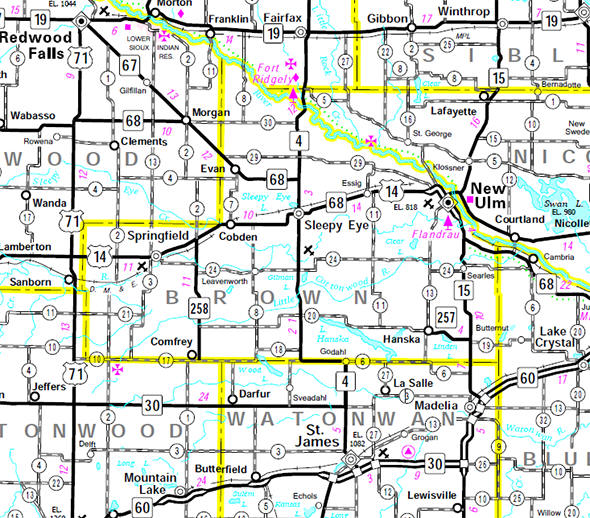 Minnesota State Highway Map of the Brown County Minnesota area