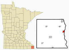 Location of Brownsville Minnesota