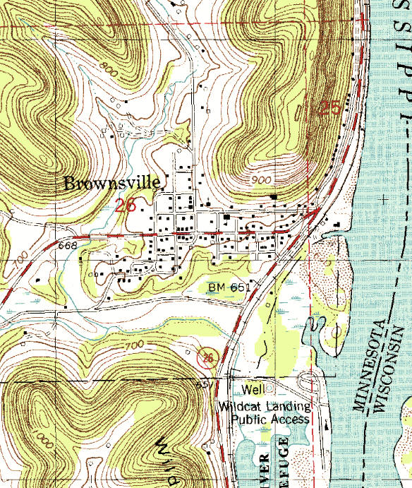 Topographic map of the Brownsville Minnesota area