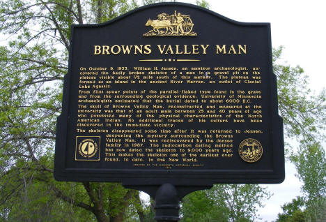 Browns Valley Man Historical marker, Browns Valley Minnesota, 2008
