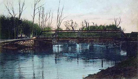 Suspension Bridge over Little Minnesota, Browns Valley Minnesota, 1909