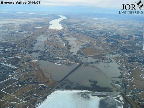Aerial Photo of the Browns Valley Minnesota area during flood, March 14th, 2007