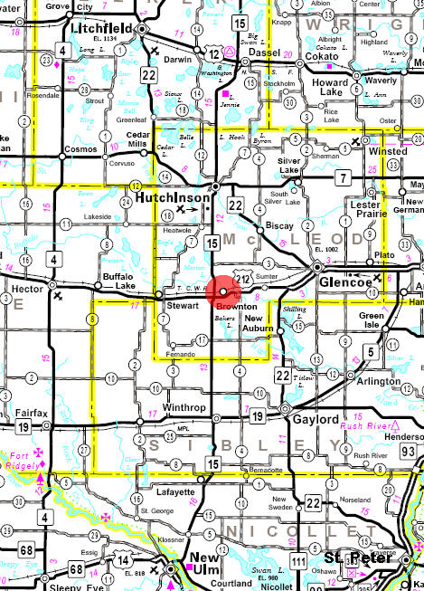 Minnesota State Highway Map of the Brownton Minnesota area