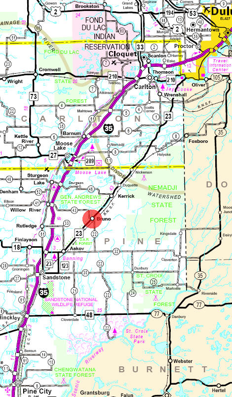 Minnesota State Highway Map of the Bruno Minnesota area