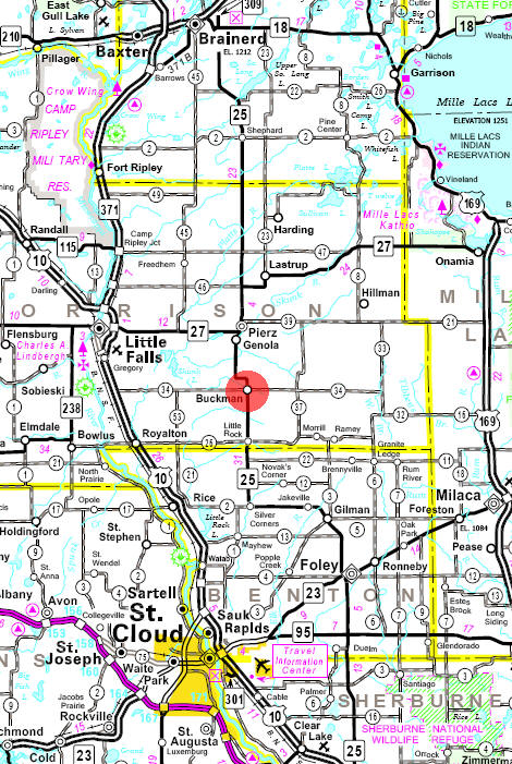 Minnesota State Highway Map of the Buckman Minnesota area
