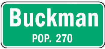 Buckman Minnesota population sign