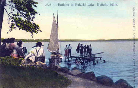 Bathing in Lake Pulaski, Buffalo Minnesota, 1912