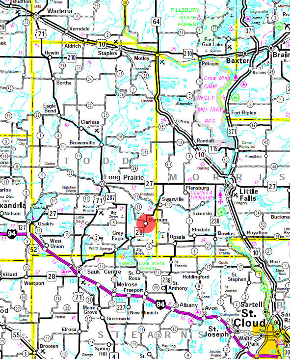 Minnesota State Highway Map of the Burtrum Minnesota area