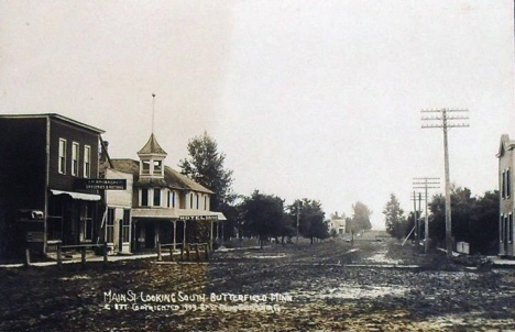 Main Street looking south, Butterfield Minnesota, 1908