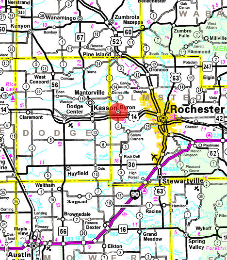 Minnesota State Highway Map of the Byron Minnesota area
