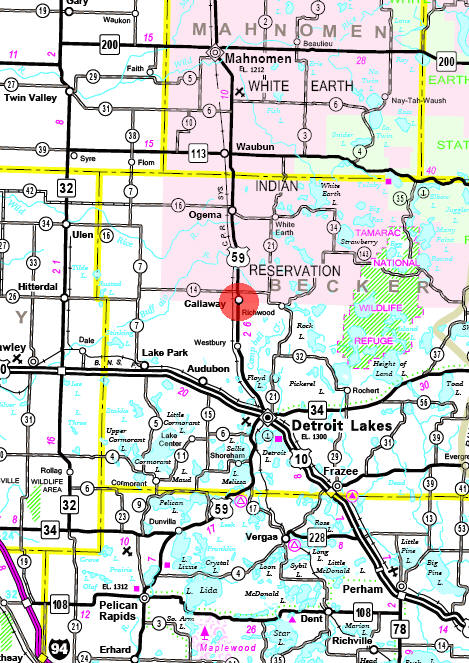 Minnesota State Highway Map of the Callaway Minnesota area