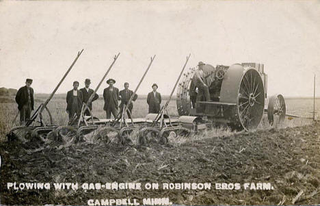 Plowing with gas engine on Robinson Bros farm, Campbell Minnesota, 1909