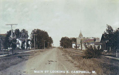 Main Street looking east, Campbell Minnesota, 1909