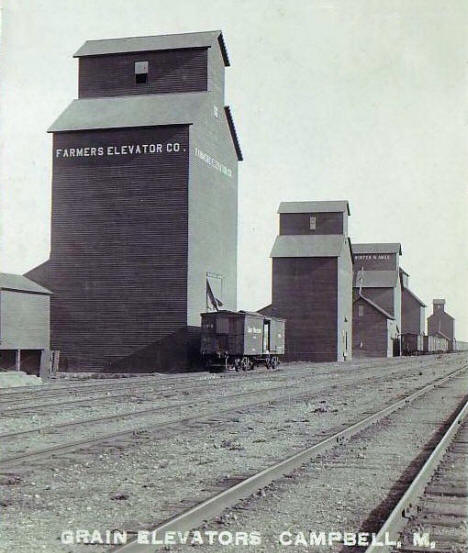 Grain Elevators, Campbell Minnesota, 1910