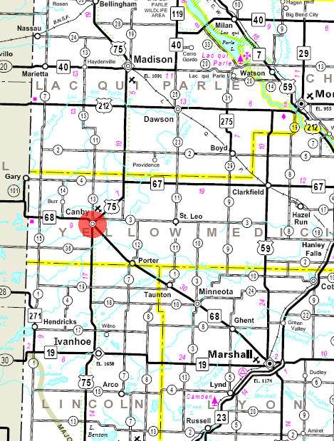 Minnesota State Highway Map of the Canby Minnesota area