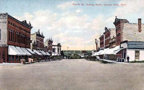 Fourth Street looking north, Cannon Falls Minnesota, 1908