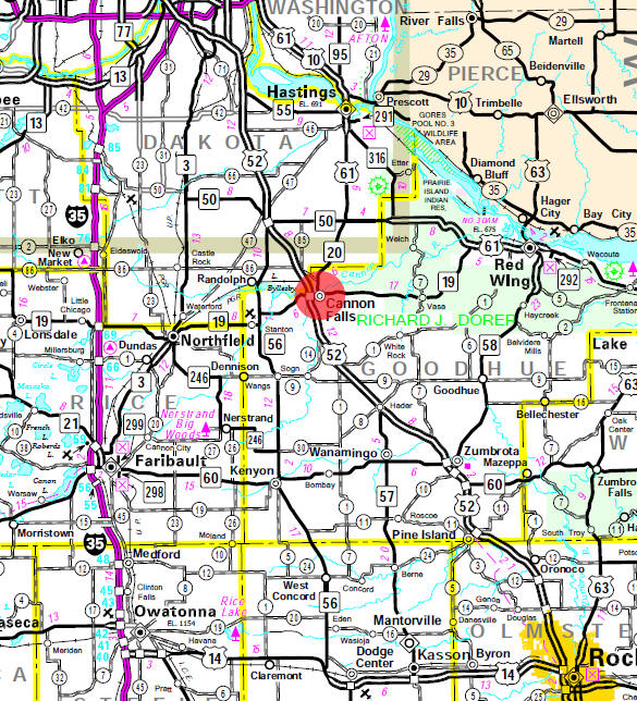 Minnesota State Highway Map of the Cannon Falls Minnesota area