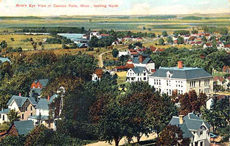 Bird's-eye view of Cannon Falls Minnesota, 1908