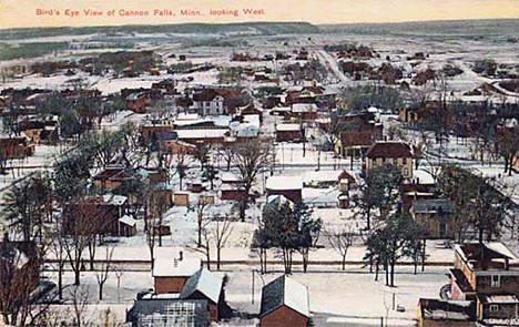 Bird's-eye view of Cannon Falls Minnesota looking west, 1909