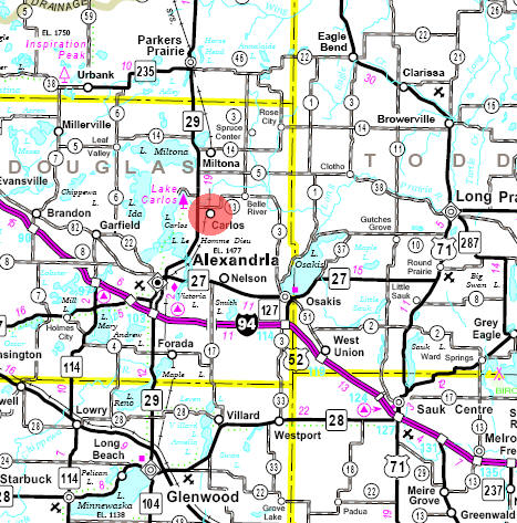 Minnesota State Highway Map of the Carlos Minnesota area