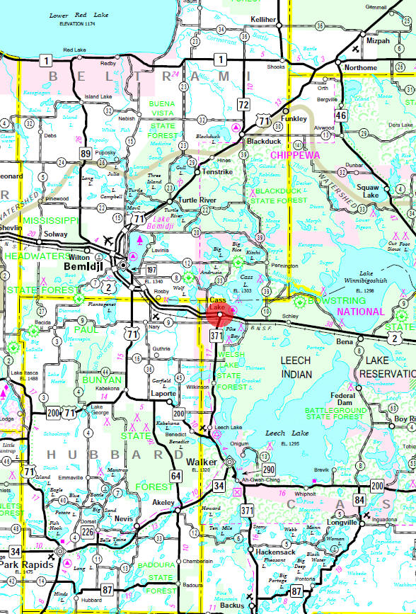 Minnesota State Highway Map of the Cass Lake Minnesota area